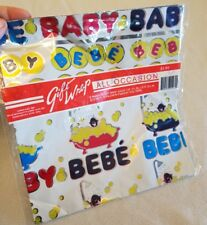 Vintage Baby BeBe French Shiny Gift Wrap 2 Sheets Bathtub James Alex Metallic