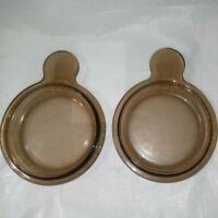 Set of 2 PYREX VISIONS P-150-C Amber Smoke Brown Lids for Grab It Bowls MINT