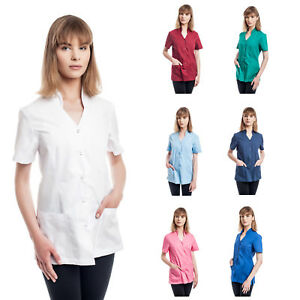 Doctor Lab Coat Womens Short Sleeves Work Wear for Cosmetologist Nurse Science