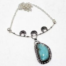 """Larimar 925 Sterling Silver Plated Necklace 18"""" GW"""