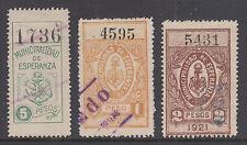 Argentina, Santa Fé, 1919-21 Esperanza Municipal Tax Fiscals, 3 diff