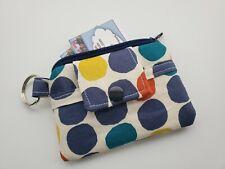 Zipper Fabric Mini Wallet Pouch Key Chain Card holder - Polka Dots