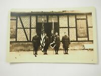 WWI Soldiers presenting The Colors Brohl Germany #455 Real Photo Postcard RPPC