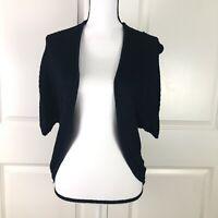 Ann Taylor Womens Cardigan Navy Blue Size Medium Open Front Short Sleeve Sweater