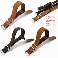Watch 100% Genuine Leather 18mm 20mm 22mm Black Brown Strap Wristwatch Band Belt