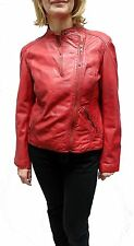 Red Tibor Design Women's Moto Leather Jacket XS M $129