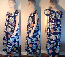 Vtg Hawaiian Caftan Muu Muu Maxi Dress Robe Polyester Satin Polynesian Graphics