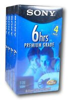 Sony VHS Premium Grade Video Tapes T-120 6 Hours - Lot of 4 - New Factory Sealed