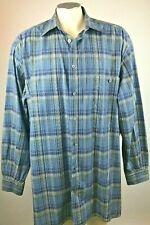 Ermenegildo Zegna Mens Button Front Shirt Blue Grey Plaid Size XLT Free Shipping