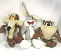 Looney Tunes Collectable Plush X3 Taz, Bugs Bunny Wylie Coyote, Rare Bundle