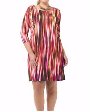 Triste By Gwynnie Bee Cascading Fuchsia Shift Women Dress Size 3X