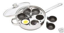 Kitchen Craft Stainless Steel 26cm Six Hole Egg Poacher & Saute Pan KCCVPOACH6