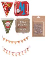 Christmas 2.5m Bunting & Banner Set Garland,Xmas Stocking Ornaments Home Decor