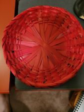 Vintage Red Paper Plate Holders Bamboo Wicker Lot Of 4
