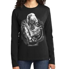 Velocitee Ladies Long Sleeve T-Shirt Marilyn Monroe Outlaw Pin Up Star A18519