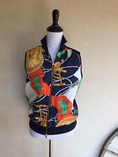 RALPH LAUREN Women's Equestrian Western Vest Jacket Zip Up 100% Silk Multi Color