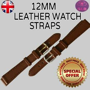 Tan Brown High Quality Mens Ladies Genuine Soft Leather Watch Band Strap 12mm UK