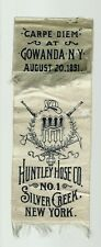 Silver Creek NEW YORK 1891 SOUVENIR Ribbon FIRE DEPARTMENT Huntley Hose Co.