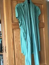 Next Ladies Green Striped Tie Neck Short Sleeved Blouse UK Size 16