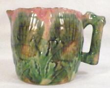 Etruscan Majolica Shell & Seaweed Creamer Art Pottery Pink Green Brown As Is