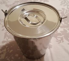 Stainless Steel Bucket Pail 9 Qt Dog Farm Water Milk Feeding Heavy Duty + Lid
