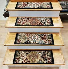 "Black/Multi Panel Stair Tread Set of 7 Non Slip Carpet Treads 26"" x 9"" Rug Depot"