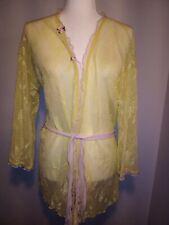 Vintage Hanky Panky Yellow Lace Robe Peignoir Size Medium Pink Roses Stretch