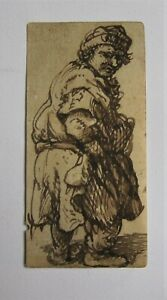 Old Master drawing. REMBRANDT. (After) Study A beggar in sepia ink on laid paper