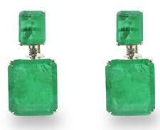 Dangle Earrings Created Green Emerald Statement 925 Sterling Silver Best Xmas