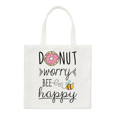 Donut Worry Bee Happy Small Tote Bag - Doughnut Funny Shoulder
