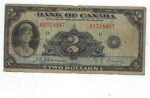 Canada P-40 2 Dollars 1935 circulated