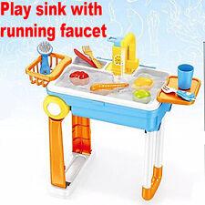 Kids Play Sink Toy Pretend Kitchen House Girl Boy Dishwasher Running Water