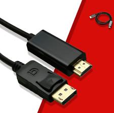 ✅1,9m Adapter Kabel Display Port auf HDMI / DP Konverter Kabel 2K 4K ✅*NEU*
