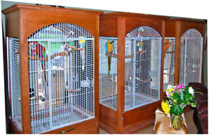 Large Dome top Bird Cage (Cal King) with Custom wood surround