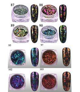 Holo Chameleon Flakes Flakies For Nail Art Decoration Design, Colour Choice, UK