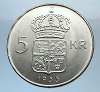 1955 SWEDEN King GUSTAV VI ADOLF 5 Kronor LARGE Silver SWEDISH Coin  i71805
