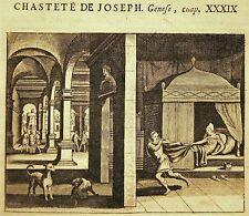 GRAVURE 17è 18è BIBLE DE ROYAUMONT chasteté de Joseph GENESE XXXIX