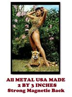 SM101- Betty Page Pinup Leopard 2 by 3 Inch Metal Refrigerator Magnet