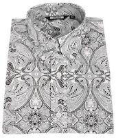 Relco Mens Monochrome Paisley Print Shirt NEW Button Down Collar Mod Vtg Retro