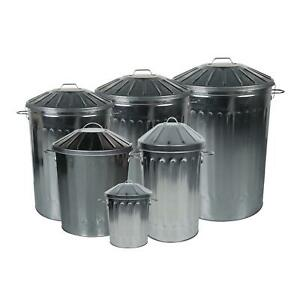 Galvanised Metal Household Indoor & Outdoor Bins.