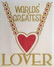 Original Vintage World's Greatest Lover Iron On Transfer Gold Glitter