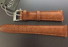 Genuine Gucci Brown Leather Watch Strap & Pins Buckle 18mm Lizard Grain 900.1830