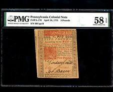 Us Colonial Currency Pennsylvania Fr# Pa-176 April 10, 1775 5 Pounds Pmg 58 Epq