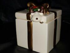Fitz And Floyd Trinket Box. Gold ribbon reindeer/moose