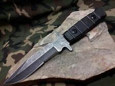 """Master Fixed Knife 9.5"""" Combo Edge Serrated Stonewashed Black Hunting 1125CB"""