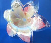"8"" Italian Art Blown Glass Flower Murano Pink Beige Italy 326 Mother's Day Gift"