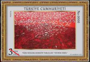 TURKEY 2021 (NUMBERED BLOCK) - PAINTINGS BY TURKISH PAINTERS, ART, LIMITED 1000