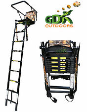 GDK, 2.5M TELESCOPIC HIGH TREE LADDER,HIGH SEAT,FOLDING,STALKING, BACKPACK,RIFLE