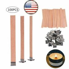 100 Pack Wooden Candle Wicks Core Supplies Metal Sustainer Diy Soap Making Party