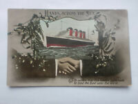 Hands Across Sea Postcard Steam Ship Cruise Liner Mistletoe Bind East To West